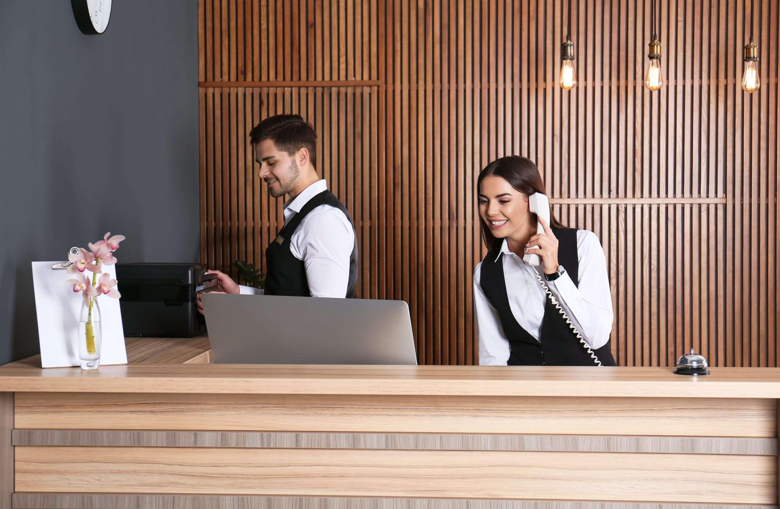 Receptionist answering calls
